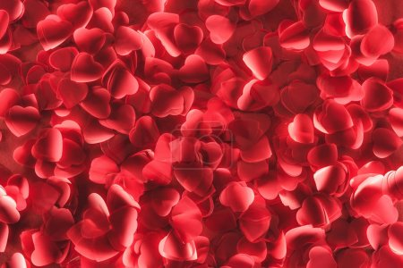 top view of beautiful decorative red hearts, valentines day background