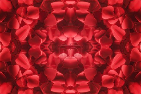 top view of beautiful red heart shaped petals, valentines day background