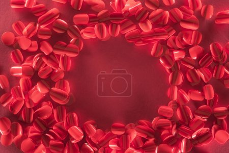 round frame and beautiful decorative red petals, valentines day background