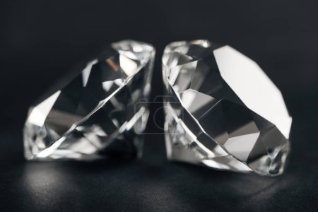 selective focus of pure diamonds on black background