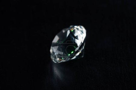Photo for Clear big diamond on black background - Royalty Free Image