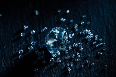 Photo for Big and small diamonds on dark background - Royalty Free Image