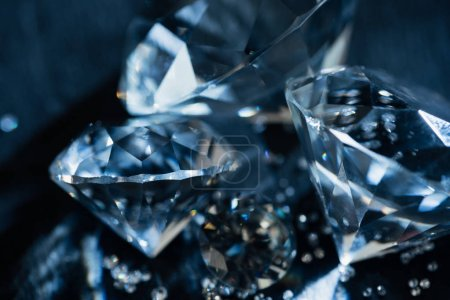 Photo for Close up of transparent pure diamonds on black background - Royalty Free Image