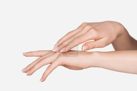 Photo for Partial view of female hands isolated on white - Royalty Free Image