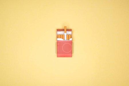 Photo pour Plan studio de paquet rouge de cigarettes isolé sur jaune - image libre de droit