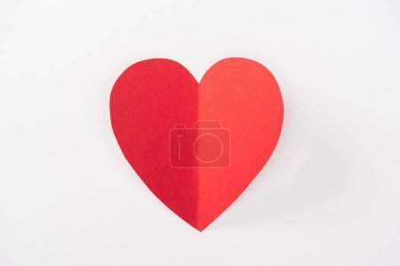 top view of heart made of paper isolated on white with copy space, st valentines day concept