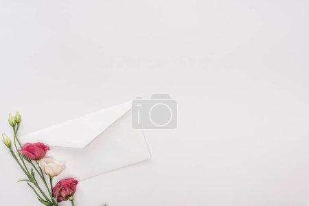 Photo pour Vue de dessus d'enveloppe et de fleurs isolés sur blanc avec espace de copie - image libre de droit