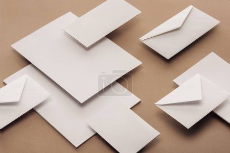 Photo for Flat lay with white envelopes, cards and sheets of paper - Royalty Free Image