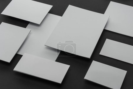 Photo for Flat lay with sheets of paper, envelopes and cards - Royalty Free Image
