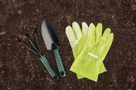 Photo pour Vue du dessus des gants près de la pelle et du râteau, protection de la nature concept - image libre de droit