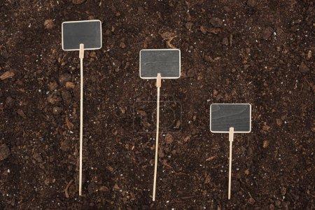 Foto de Vista superior de pancartas en blanco en el suelo, proteger el concepto de naturaleza - Imagen libre de derechos