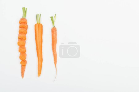 Photo for Top view of sliced carrot, cut and whole carrots isolated on white with copy space - Royalty Free Image