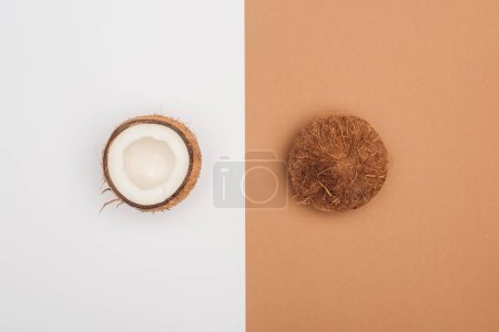 top view of ripe coconut halves on bicolor background