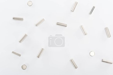 Photo for Top view of batteries on grey background - Royalty Free Image