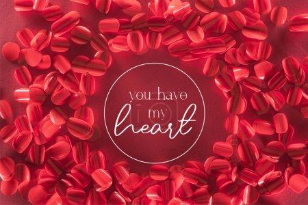 """cadre rond et de beaux pétales rouges décoratifs avec """"vous avez mon c?ur"""" lettrage, fond de la Saint-Valentin"""