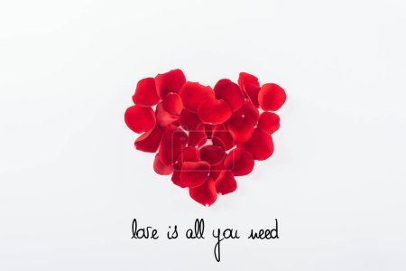 "Photo for Top view of heart made of red rose petals isolated on white, st valentines day concept with ""Love is all you need"" lettering - Royalty Free Image"