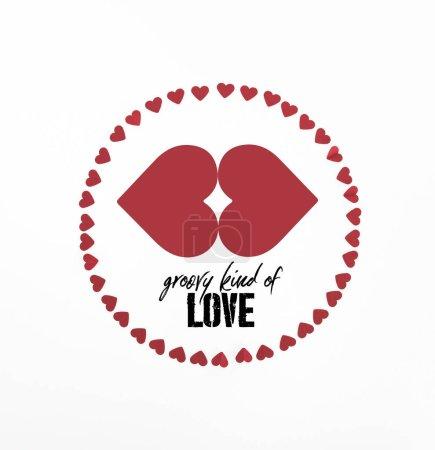 """Photo pour Vue surélevée du cercle fait de symboles de coeur rouge isolé sur blanc avec lettrage """"genre groovy d'amour"""" - image libre de droit"""