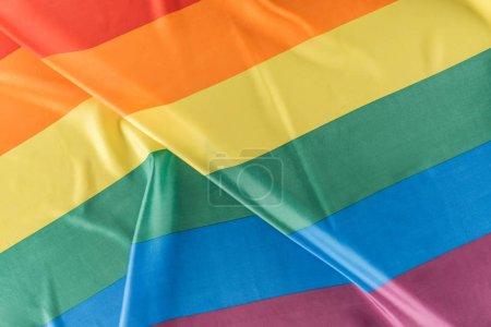 Photo pour Vue du haut du drapeau de fierté de lgbt plissé - image libre de droit