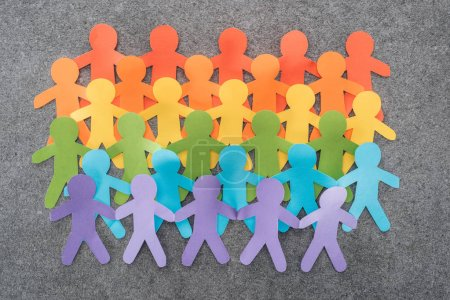 Photo for Colorful paper cut figures of lgbt pride on grey background, lgbt concept - Royalty Free Image