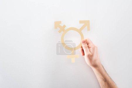 Photo pour Recadrée vue de main mâle avec papier découpé sexe signe sur fond gris, notion de lgbt - image libre de droit
