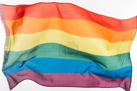 Photo for Multicolored lgbt rainbow flag isolated on white - Royalty Free Image