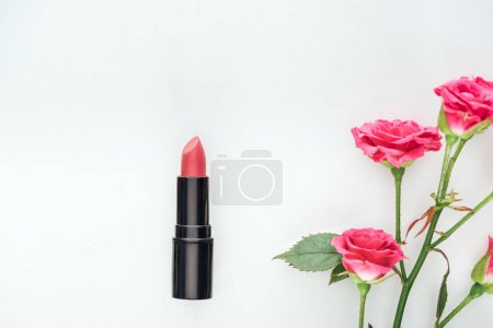 Photo for Top view of lipstick and pink roses isolated on white - Royalty Free Image