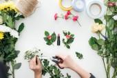"""Постер, картина, фотообои """"обрезанный вид девушки руки резки хризантем бутоньерки и помады, в окружении цветов на белом фоне"""""""