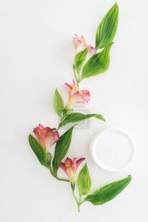 Photo pour Vue de dessus de composition fleurs roses, feuillage vert et crème de beauté en bouteille sur fond blanc - image libre de droit