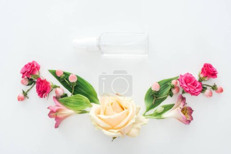 Photo for Top view of composition with alstroemeria, roses, berries and empty spray bottle on white background - Royalty Free Image