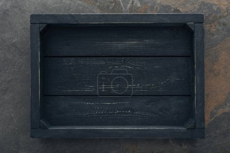 Photo for Top view of black wooden box with copy space - Royalty Free Image