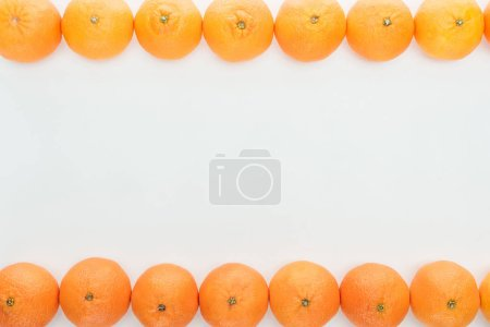 Photo pour Bordures de cadre de mûres tangerines orange sur fond blanc avec espace de copie - image libre de droit