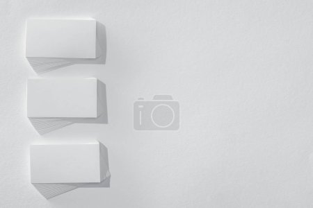 Photo for Top view of blank cards on white background with copy space - Royalty Free Image