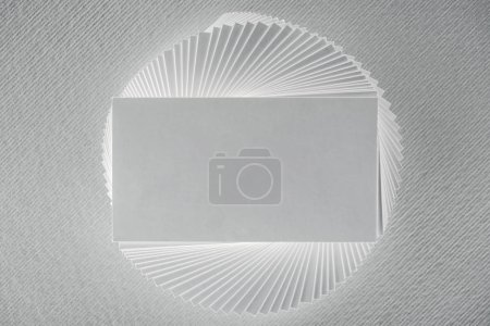 top view of blank and empty card on white background with copy space