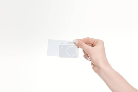 Photo for Partial view of woman holding empty card isolated on white - Royalty Free Image