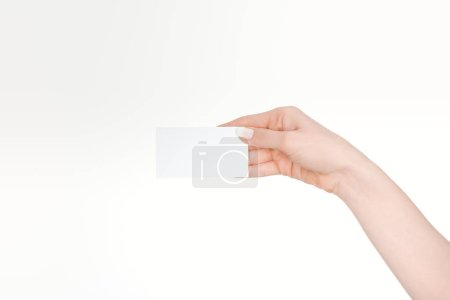Photo for Cropped view of woman holding blank card isolated on white - Royalty Free Image