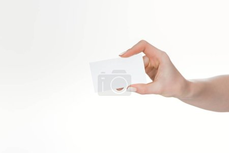 Photo for Cropped view of woman holding blank and empty card isolated on white - Royalty Free Image