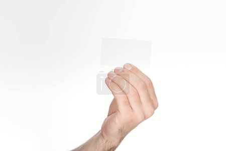 cropped view of man holding blank card isolated on white