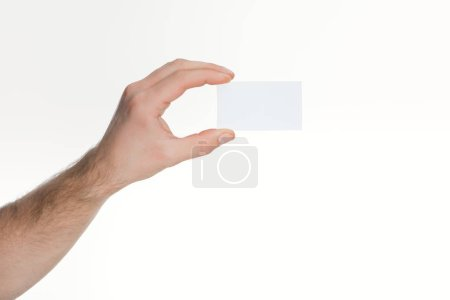 partial  view of man holding empty card on white background