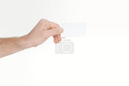 cropped view of man holding blank and empty card with copy space