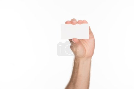 partial view of man holding blank and empty card with copy space