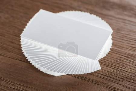 Photo for Top view of empty card on wooden table with copy space - Royalty Free Image