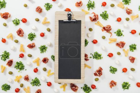 blank clipboard with menu lettering