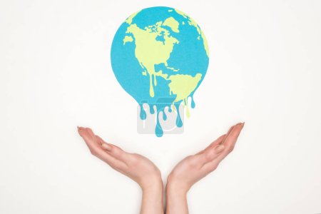 Photo for Cropped view of woman holding open hands under paper cut melting globe on white background, global warming concept - Royalty Free Image