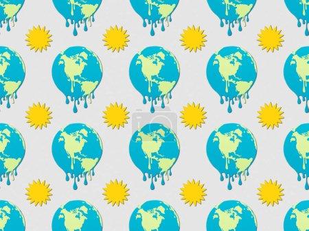 Photo pour Modèle avec signes de terre et du soleil sur fond gris, concept au réchauffement global de la fusion - image libre de droit