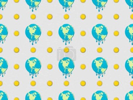 Photo pour Modèle avec fonte des globes et signes du soleil sur fond gris, concept de réchauffement global - image libre de droit