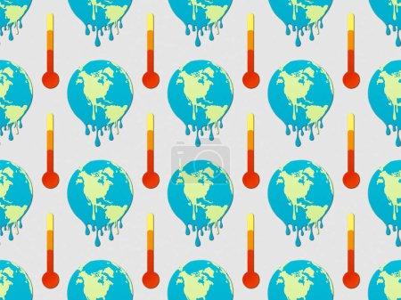patrón con signos de fusión de globos y termómetros sobre fondo gris, concepto de calentamiento global