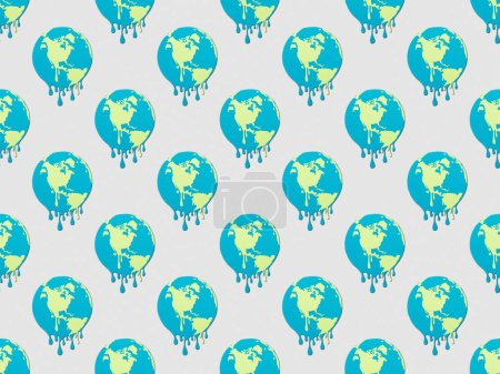 Photo pour Modèle avec globes fusion signe sur fond gris, concept de réchauffement global - image libre de droit