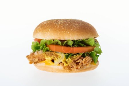 Photo for Delicious unhealthy chicken burger isolated on white - Royalty Free Image