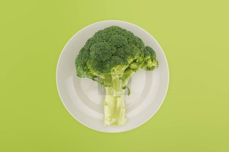 Photo for Top view of organic ripe broccoli on white plate isolated on green - Royalty Free Image