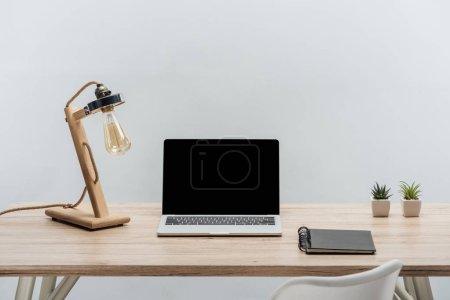 Foto de Trabajo moderno con ordenador portátil con pantalla en blanco, las plantas y lámpara portátil aislado en gris - Imagen libre de derechos